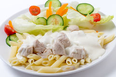 Chicken and pasta with white sauce side view Stock Images