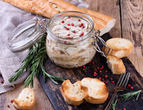 Chicken pate in glass jar and toast bread on Royalty Free Stock Photos