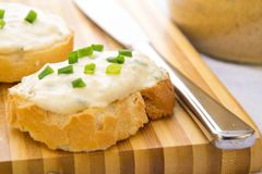 Chicken pate on toast stock images