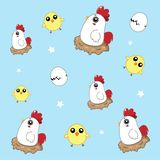 Chicken pattern cute in the sky vector illustration