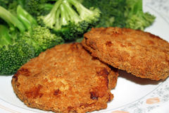 Chicken Patties And Broccoli Stock Images