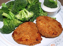 Chicken Patties And Broccoli Stock Image