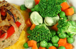 Chicken Patty With Vegetables Royalty Free Stock Images