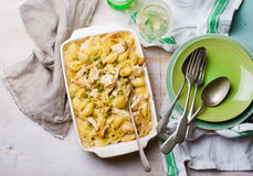Chicken and pea pasta bake. Selective focus royalty free stock photos