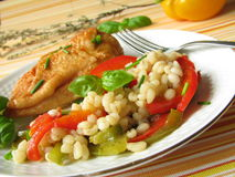 Chicken with pearl barley Royalty Free Stock Photos