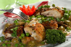 Chicken with peas Royalty Free Stock Photography