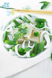 Chicken and peas laksa with mint leaves Stock Image