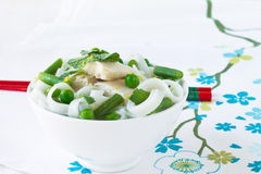 Chicken and peas laksa with mint leaves Stock Images