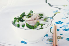 Chicken and peas laksa with mint leaves Royalty Free Stock Image