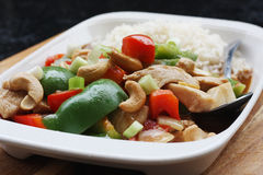 Chicken, peppers & cashew nuts stir fry Royalty Free Stock Photo
