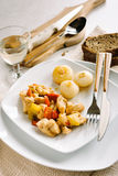Chicken and peppers with onions. Chicken and peppers served with sweet and sour onions Royalty Free Stock Images