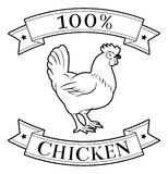 Chicken 100 percent label. With chicken or rooster and reading 100 percent chicken Royalty Free Stock Images