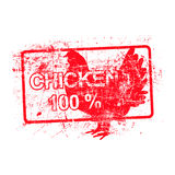 Chicken 100 percent - red rubber dirty grungy stamp. In rectangular vector illustration Stock Photography