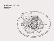 Pesto spaghetti , hand draw sketch vector. vector illustration