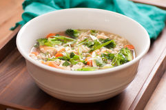 chicken pho soup with vegetables and noodles Royalty Free Stock Photography