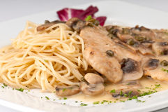 Chicken picatta closeup Stock Photography