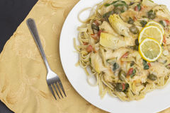 Chicken Piccata Linguine Stock Photography
