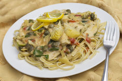 Chicken Piccata Linguine Royalty Free Stock Photo