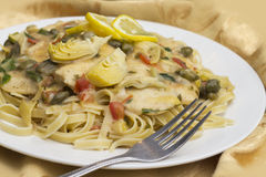 Chicken Piccata Linguine Royalty Free Stock Photography