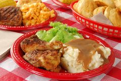 Chicken picnic lunch stock photography