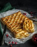 Chicken pie with broccoli from puff pastry Stock Photo