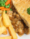 Chicken Pie and Chips Stock Photography