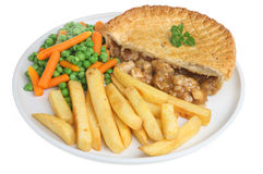 Chicken Pie & Chips. Chicken Pie with chips, carrots and peas Stock Images