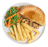 Chicken Pie & Chips. Chicken pie with chips, vegetables and gravy Stock Image