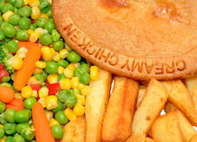 Chicken Pie And Chips Meal Stock Image