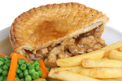 Chicken Pie, Chips and Vegetables Royalty Free Stock Photo