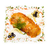 Chicken pie isolated on white Stock Photos