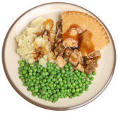 Chicken Pie, Mash & Peas Stock Photography