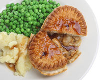 Chicken Pie, Mash and Peas Stock Photo