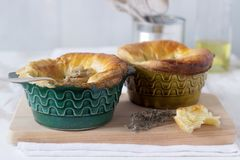 Chicken pie with mushrooms, cooked in individual ceramic forms. Rustic style. stock images