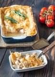Chicken pie with philo. On the wooden table royalty free stock photos