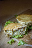 """Chicken pie. The Chicken Pot Pie originated from Greece. They took cooked meats and placed them in open pastry shells that were called """"Artocreas"""". It was Royalty Free Stock Images"""