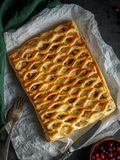 Chicken pie from puff pastry top view Stock Photography