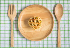 Chicken Pie on wooden dish Stock Photos