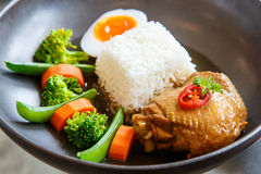 Chicken pieces baked with rice with egg boiled and vegetables Royalty Free Stock Image