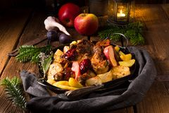 Chicken pieces with fruit and vegetables stock photo