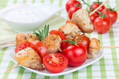 Chicken pieces grilled on skewers Royalty Free Stock Photography