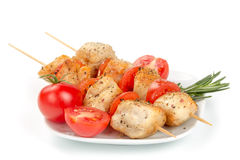 Chicken pieces grilled on skewers Royalty Free Stock Photos