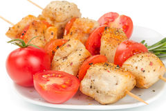 Chicken pieces grilled on skewers Royalty Free Stock Images