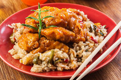 Chicken pieces with rice and sweet and sour sauce Stock Image