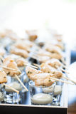Chicken pieces on skewers Stock Photography