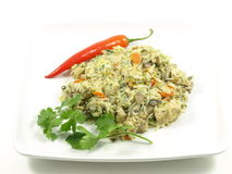 Chicken Pilaf. Chicken pilaf indian dish on a plate; on isolated white background with chili and coriander stock photos