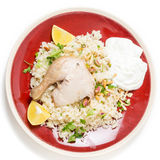 Chicken pilaf meal from above Royalty Free Stock Photography