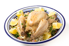 Chicken pilaf serving bowl Stock Photos