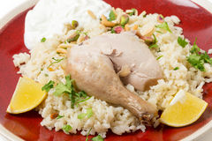 Chicken pilaf and yoghurt meal Royalty Free Stock Photography