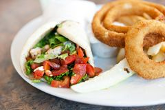 Chicken Pita with Onion Rings. Chicken pita wrap sandwich with onion rings and a deli pickle slice. Shallow depth of field royalty free stock images